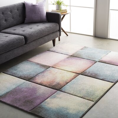 Mott Street Modern Geometric Carved Teal/Purple Area Rug Rug Size: Runner 27 x 76