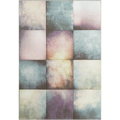 Mott Street Modern Geometric Carved Teal/Purple Area Rug Rug Size: 27 x 76