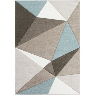 Mott Street Modern Geometric Carved Teal/Gray Area Rug Rug Size: Rectangle 53 x 76