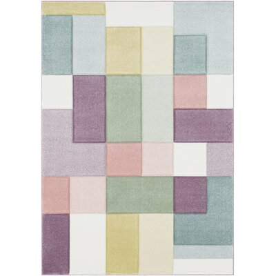 Mott Street Modern Geometric Carved Pink/Teal Area Rug Rug Size: Rectangle 53 x 76