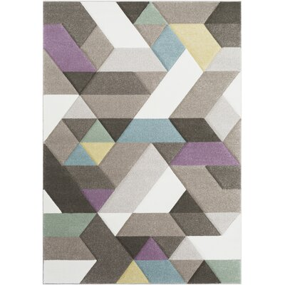 Mott Street Modern Geometric Carved Dark Brown/Taupe Area Rug Rug Size: Rectangle 53 x 76