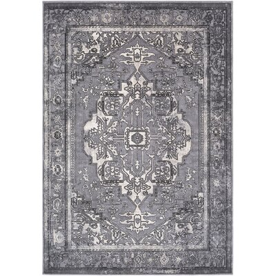 Thissell Vintage Persian Medallion Gray Area Rug Rug Size: Rectangle 53 x 76