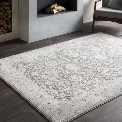 Tilleul Oriental Vintage Persian Distressed Gray Area Rug Rug Size: Rectangle 67 x 96