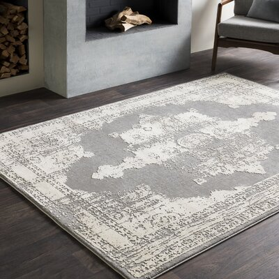 Tilleul Distressed Persian Medallion Gray Area Rug Rug Size: Rectangle 67 x 96