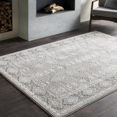 Tilleul Vintage Persian Distressed Gray Area Rug Rug Size: Rectangle 93 x 123