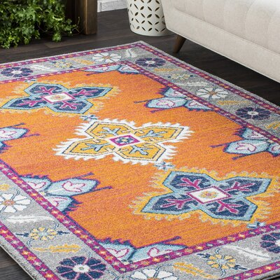 Downs Persian Inspired Orange/Blue Area Rug Rug Size: 2' x 3'
