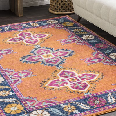 Elian Persian Inspired Boho Blue/Orange Area Rug Rug Size: 2 x 3