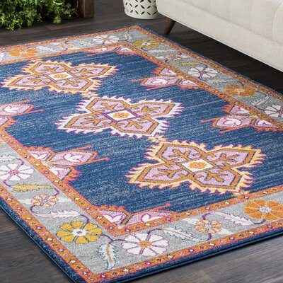 Downs Persian Inspired Navy/Pink Area Rug Rug Size: 93 x 126