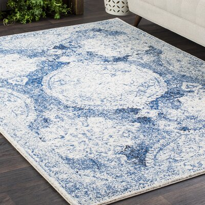 Downs Distressed Vintage Medallion Blue/White Area Rug Rug Size: 53 x 73