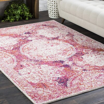 Downs Distressed Medallion Vintage Pink Area Rug Rug Size: 93 x 126