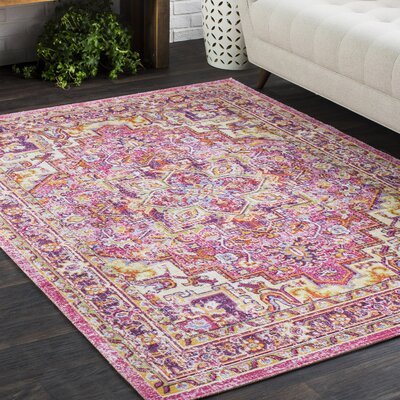 Kahina Traditional Vintage Distressed Oriental Rectangle Pink Area Rug Rug Size: 710 x 106