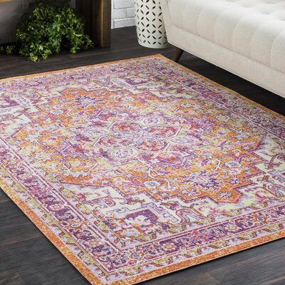 Kahina Vintage Distressed Oriental Pink/Orange Area Rug Rug Size: 9 x 13