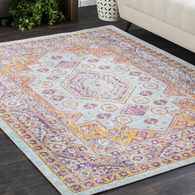 Benedict Vintage Distressed Oriental Orange/Purple Area Rug Rug Size: 53 x 73