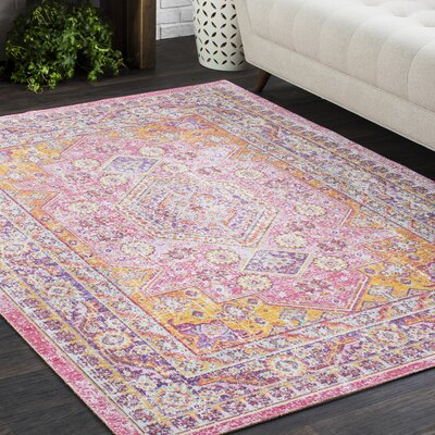Kahina Vintage Distressed Oriental Orange/Pink Area Rug Rug Size: 53 x 73