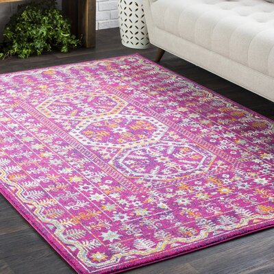 Elian Bright Traditional Vintage Pink Area Rug Rug Size: 710 x 103