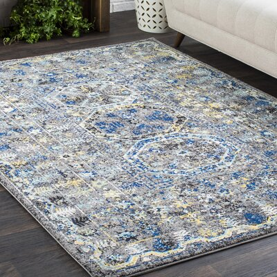 Arteaga Traditional Vintage Blue/Gray Area Rug Rug Size: Rectangle 93 x 126