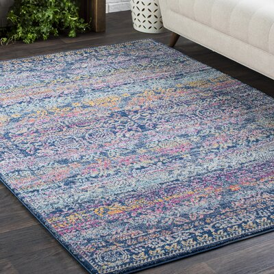 Downs Persian Traditional Oriental Blue/Purple Area Rug Rug Size: 93 x 126
