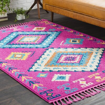 Kaliska Boho Moroccan Tassel Blue/Pink Area Rug Rug Size: Rectangle 53 x 73