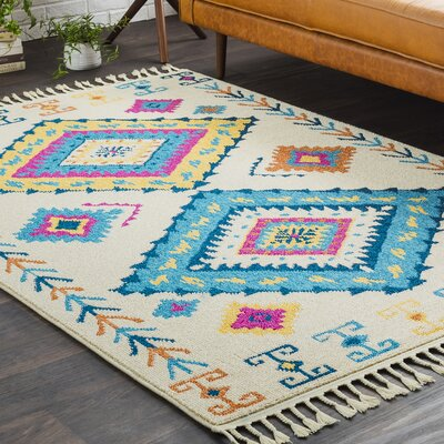 Kaliska Boho Moroccan Tassel Beige/Blue Area Rug Rug Size: Rectangle 27 x 73
