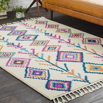 Kaliska Boho Moroccan Tassel Beige/Pink Area Rug Rug Size: 93 x 121