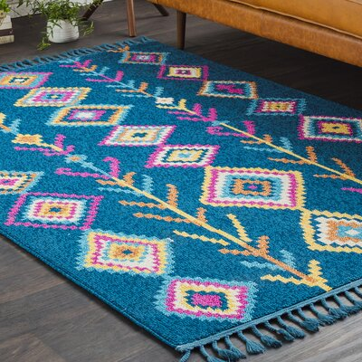 Kaliska Boho Moroccan Tassel Teal/Pink Area Rug Rug Size: Rectangle 2 x 3