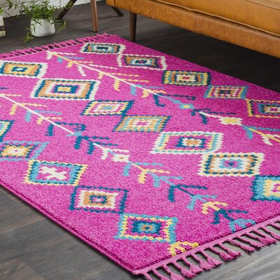 Kaliska Boho Moroccan Tassel Pink/Teal Area Rug Rug Size: Rectangle 5 x 73
