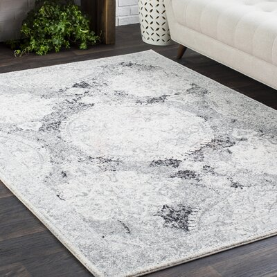 Downs Distressed Vintage Medallion Gray/White Area Rug Rug Size: 53 x 73