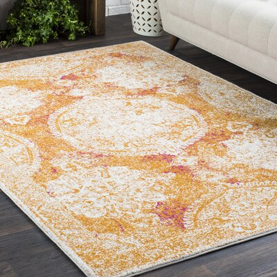 Downs Distressed Medallion Vintage Saffron/White Area Rug Rug Size: 53 x 73