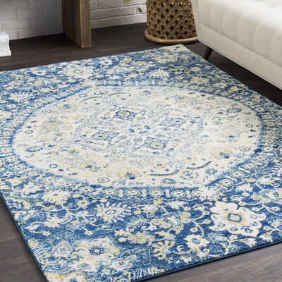 Arteaga Vintage Persian Medalion Oriental Blue/Cream Area Rug Rug Size: Rectangle 710 x 103