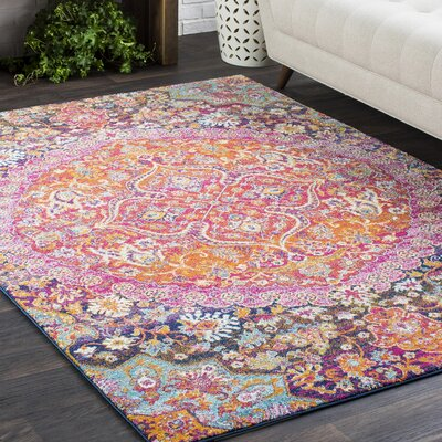 Downs Vintage Persian Medallion Oriental Pink/Orange Area Rug Rug Size: 311 x 57