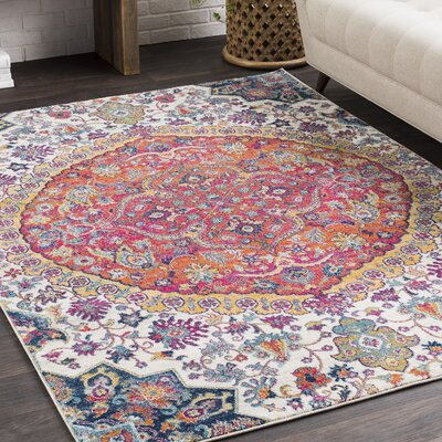 Arteaga Vintage Persian Medalion Oriental Pink/Blue Area Rug Rug Size: Rectangle 93 x 126