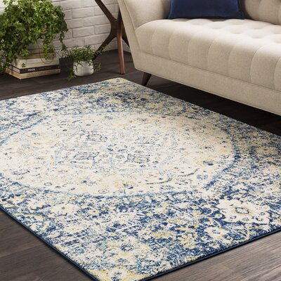 Arteaga Vintage Persian Medalion Oriental Blue/Beige Area Rug Rug Size: Rectangle 53 x 73