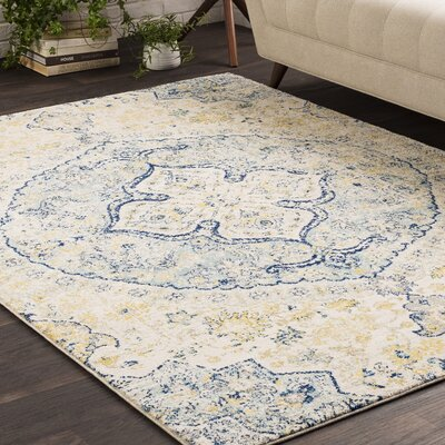 Downs Vintage Persian Medalion Oriental Light Blue/Beige Area Rug Rug Size: 93 x 126