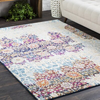 Downs Persian Distressed Vintage Purple/Cream Area Rug Rug Size: Rectangle 93 x 126, Color: Purple/Cream