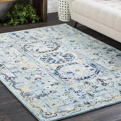 Arteaga Traditional Vintage Light Blue Area Rug Rug Size: Rectangle 93 x 126