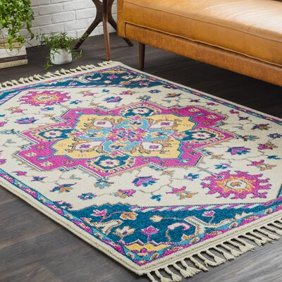 Kaliska Boho Medallion Tassel Pink/Beige Area Rug Rug Size: Rectangle 53 x 73