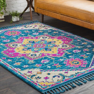 Kaliska Boho Medallion Tassel Teal/Pink Area Rug Rug Size: Rectangle 93 x 121