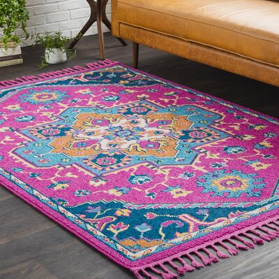Kaliska Boho Medallion Tassel Pink Area Rug Rug Size: Rectangle 53 x 73