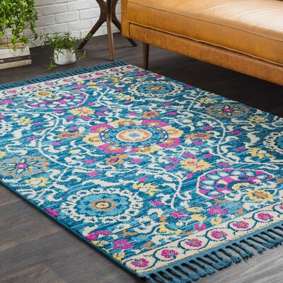 Kaliska Boho Suzani Tassel Teal/Pink Area Rug Rug Size: Rectangle 5 x 73