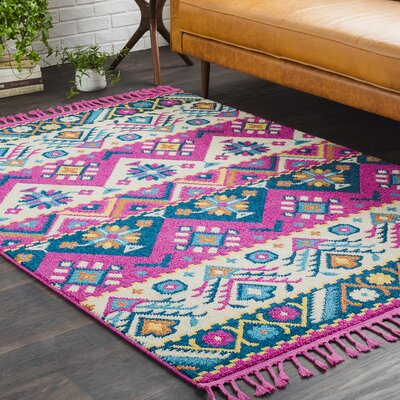 Kaliska Boho Southwestern Tassle Pink/Teal Area Rug Rug Size: Rectangle 2 x 3