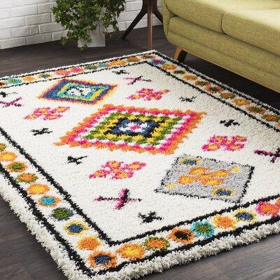 Elissa Boho White/Orange Area Rug Rug Size: 710 x 103