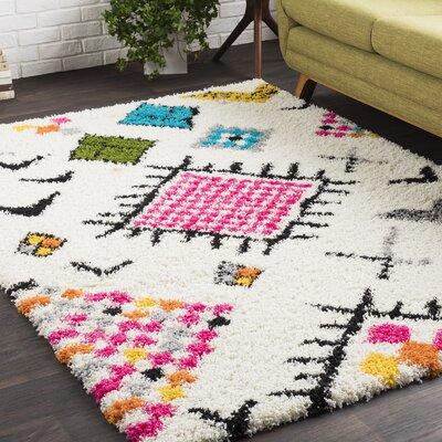 Elissa Boho White/Pink Area Rug Rug Size: 710 x 103