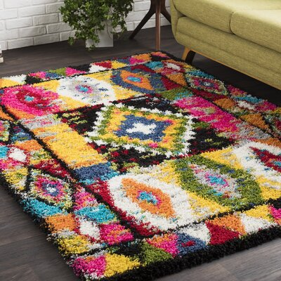 Elissa Boho Crafted Pink/Yellow Area Rug Rug Size: 53 x 73