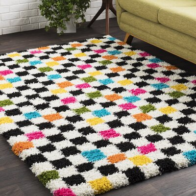 Elissa Boho Squares Black/Pink Area Rug Rug Size: 53 x 73