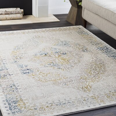Maris Vintage Medallion Traditional Beige/Tan Area Rug Rug Size: Rectangle 710 x 103