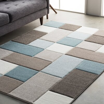 Mott Street Modern Geometric Carved Teal/Brown Area Rug Rug Size: Runner 27 x 76
