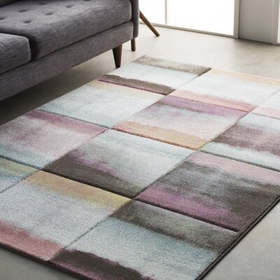 Mott Street Modern Geometric Carved Purple/Green Area Rug Rug Size: 27 x 76