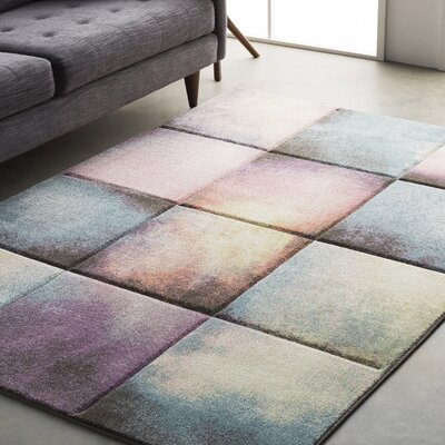 Mott Street Modern Geometric Carved Teal/Purple Area Rug Rug Size: 53 x 76