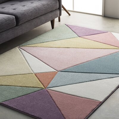 Mott Street Modern Geometric Carved Pink/Purple Area Rug Rug Size: Runner 27 x 76