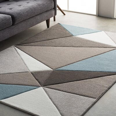 Mott Street Modern Geometric Carved Teal/Gray Area Rug Rug Size: Runner 27 x 76
